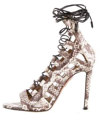 Aquazzura Snakeskin Zip-Up Sandals