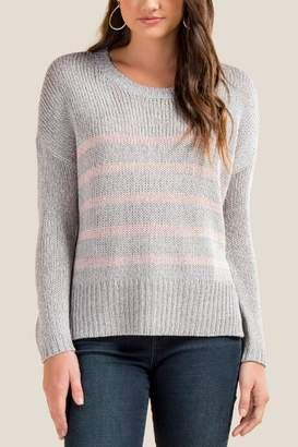 francesca's Autumn Striped Sweater - Gray