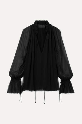 Nili Lotan Arizona Ruffled Silk-chiffon Blouse - Black