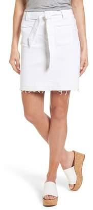Caslon Belted Release Hem Stretch Cotton Twill Skirt (Regular & Petite)