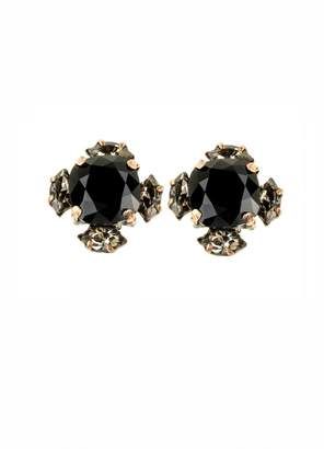 Black Diamond Halo & Co Jet And Crystal Cluster Earrings In Antique Gold Tone
