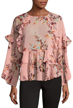 A.N.A Printed Ruffle Blouse Long Sleeve Crew Neck Woven Floral Blouse