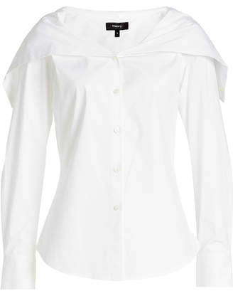 Theory Cotton Blouse with Layered Neckline