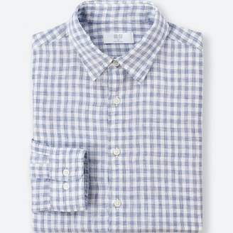 Uniqlo MEN Premium Linen Checked Long Sleeve Shirt