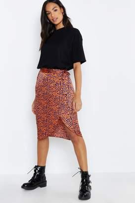 boohoo Tall Leopard Print Satin Wrap Midi Skirt