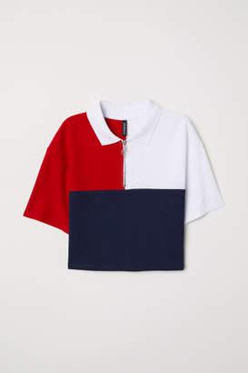 H&M Short Cotton Pique T-shirt - Red