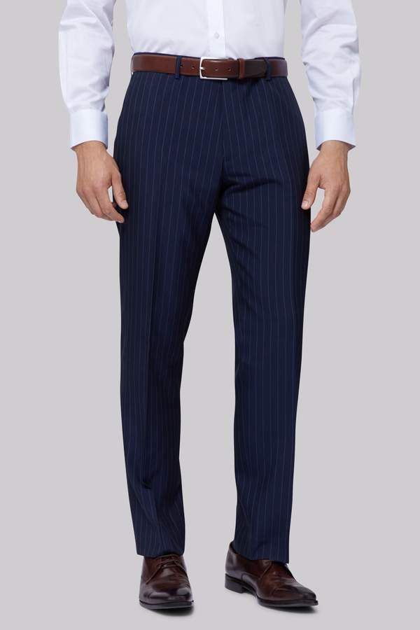 Moss Esq. Regular Fit Navy Stripe Pants
