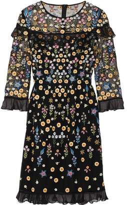 Needle & Thread - Flowerbed Ruffle-trimmed Embroidered Tulle Mini Dress - Black $600 thestylecure.com