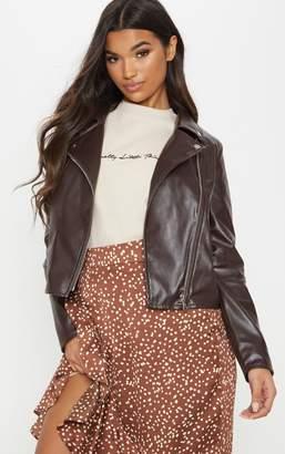 PrettyLittleThing Chocolate Brown PU Biker Jacket