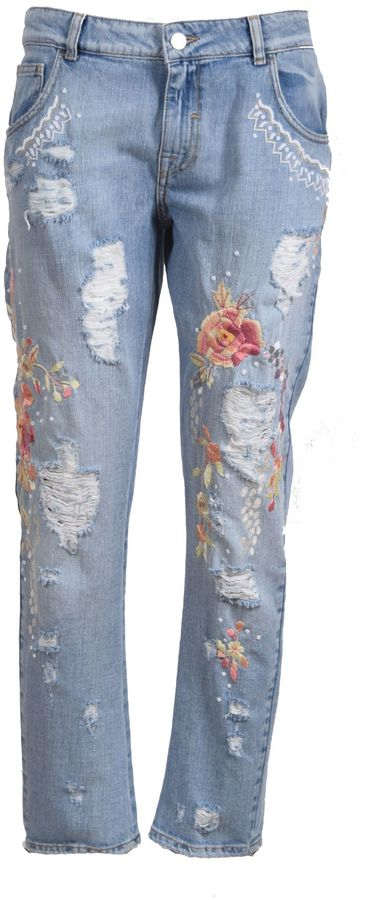 AmenAmen Floral Embroidery Jeans