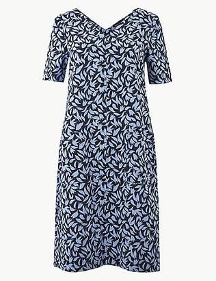 M&S Collection Leaf Print Patch Pocket Shift Dress