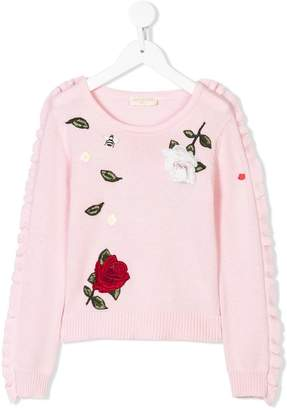 MonnaLisa embroidered rose jumper a