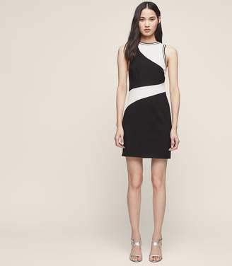 Reiss WILLA BLOCK-COLOUR SHIFT DRESS Offwhite/Black