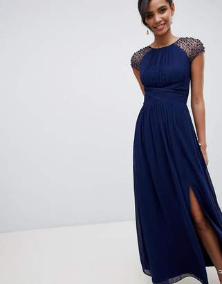 Little Mistress embellished sleeve maxi dress in navy