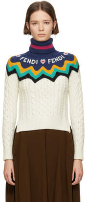 Fendi White Logo Heart Heavy Turtleneck