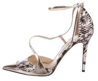 Jimmy Choo Embossed Ankle Strap Pumps