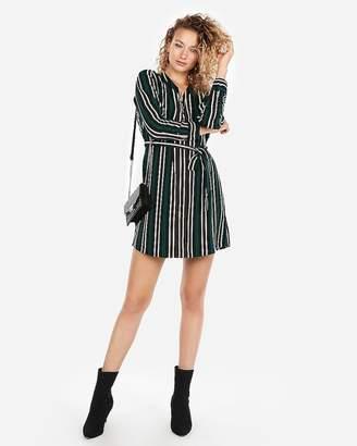 Express Green Striped Long Sleeve Shirt Dress
