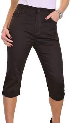 Ice Plus Size Stretch Capri Cropped Jeans Diamante Cuff 14-24