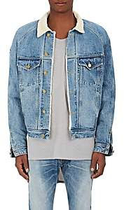 Fear Of God Men's Corduroy Collar Denim Trucker Jacket-Blue Size Xl