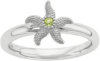 FINE JEWELRY Sterling Silver Stackable Genuine Peridot Starfish Ring