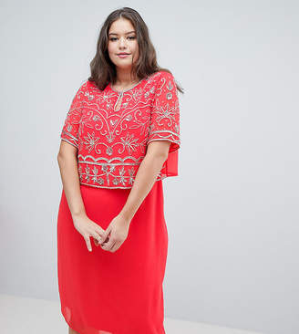 Asos Frock And Frill Plus Embellished Top 2 In 1 Pencil Dress