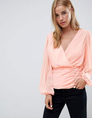 Asos DESIGN wrap top with side button detail