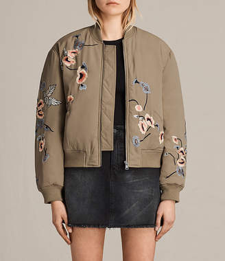 AllSaints Margot Embroidered Bomber Jacket