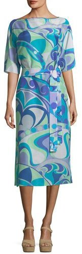 Emilio Pucci Short-Sleeve Boat-Neck Printed Midi Dress