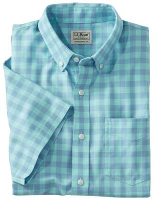 L.L. Bean L.L.Bean Men's Easy-Care Chambray Shirt, Traditional Fit Short-Sleeve Plaid