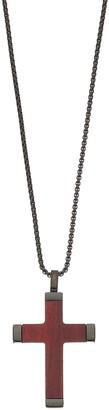 Lynx Men's Black Stainless Steel & Wood Cross Pendant Necklace