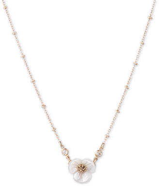 "lonna & lilly Gold-Tone Crystal & Imitation Mother-of-Pearl Flower Pendant Necklace, 16"" + 3"" extender"
