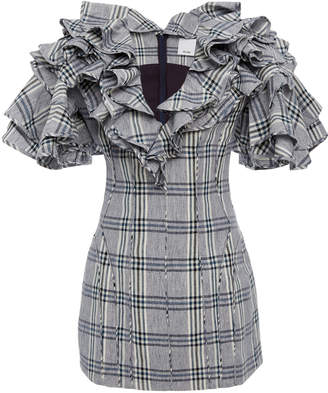 Cullen Acler Ruffled Plaid Cotton And Linen-Blend