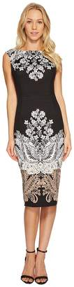 London Times Lacey Scroll Cap Sleeve Sheath Dress Women's Dress