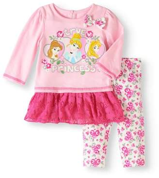 Disney Princess Newborn Baby Girl Ruffle Trim Top And Legging Set