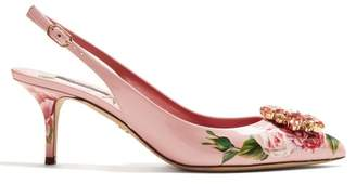 Dolce & Gabbana Crystal Embellished Floral Print Kitten Heel Pumps - Womens - Pink Multi