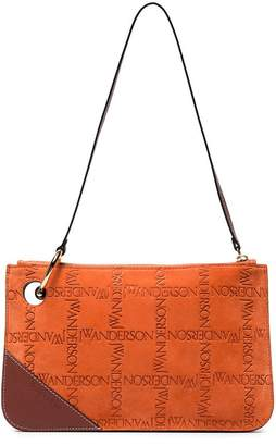 J.W.Anderson Orange Pierce Logo Suede Leather Clutch