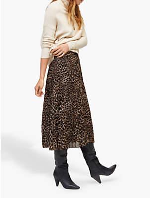 Warehouse Leopard Pleated Midi Skirt, Brown Print