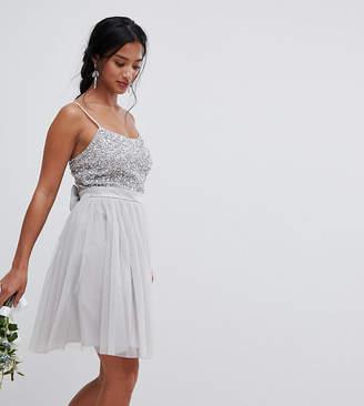 Maya Petite Cami Strap Sequin Top Tulle Detail Mini Bridesmaid Dress