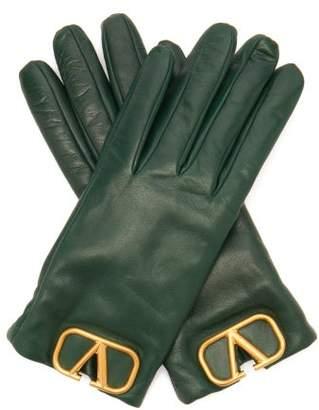 Valentino V Logo Plaque Leather Gloves - Womens - Green
