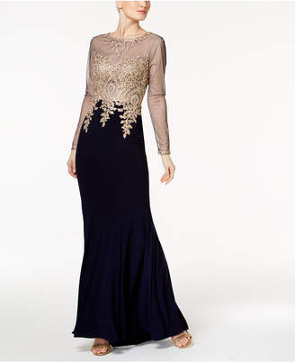 Xscape Evenings Embroidered Petite Mesh Mermaid Gown