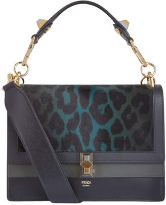 Fendi Leopard Panel Top Handle Bag