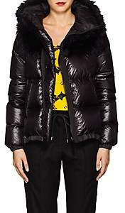 Sacai Women's Faux-Fur-Collar Down Tech-Puffer Coat - Black, Navy