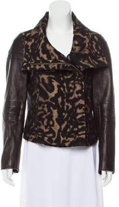 Diane von Furstenberg Leather-Accented Zip-Up Jacket