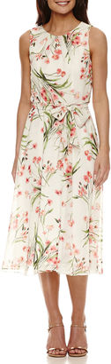 JESSICA HOWARD Jessica Howard Sleeveless Pleat Neck Floral Fit and Flare Dress $72 thestylecure.com