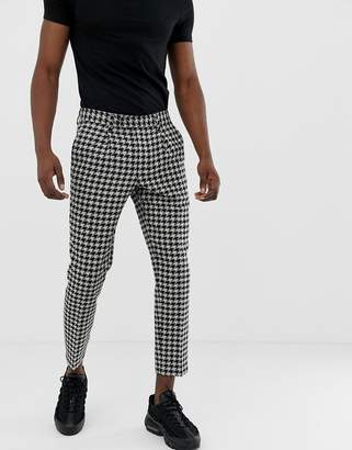 Asos Design DESIGN cigarette pants with large dog tooth in gray