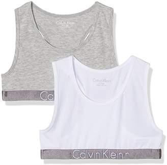 Calvin Klein Girl's 2 Pack Bralette Bustier,116 (Size: 6-7)
