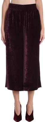 Stella McCartney Cropped Burgundy Velvet Pants