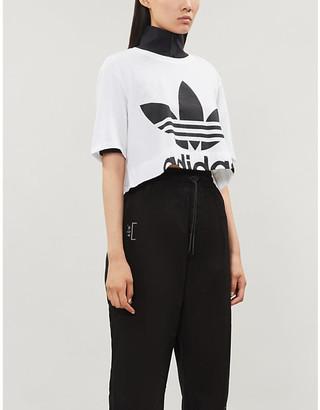 adidas Trefoil logo-print cropped cotton-jersey T-shirt