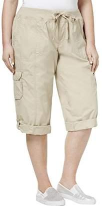 "Calvin Klein Women's Plus Size Rib Waistband Crop Convertible Cargo Pant 18""-22"" Inseam"