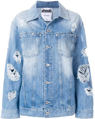 Moschino distressed effect denim jacket